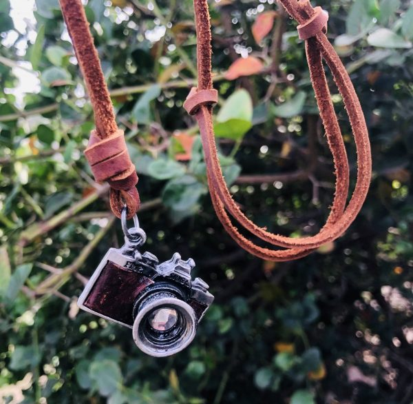 leather necklace camera